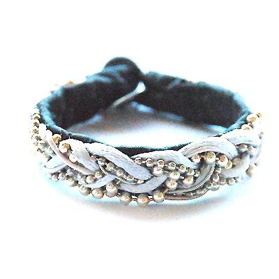 Braided chain Svart & Rosa